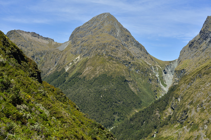 The pass between Waterfall Creek and Hut Creek, Triton Peak and Glade Pass from Hut Creek valley head below U Pass