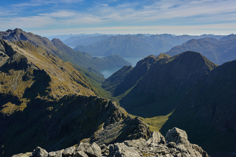View into the Glade Burn and Lake Te Anau from Triton Peak. Skelmorlie Peak top left