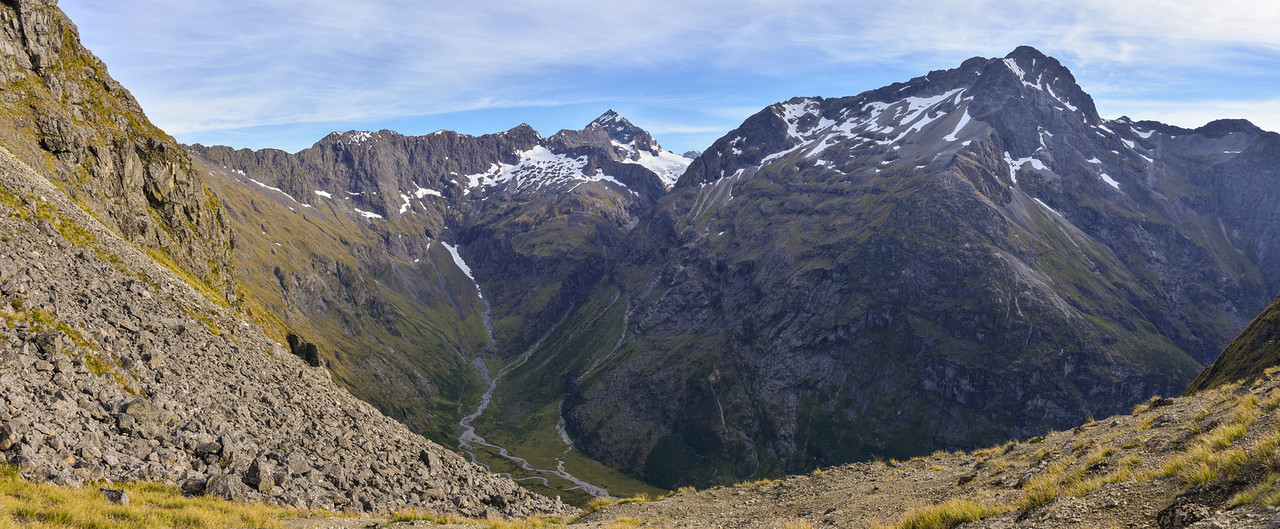 View into Hut Creek from the pass with Waterfall Creek. Flat Top Peak at centre image; Triangle Peak on right