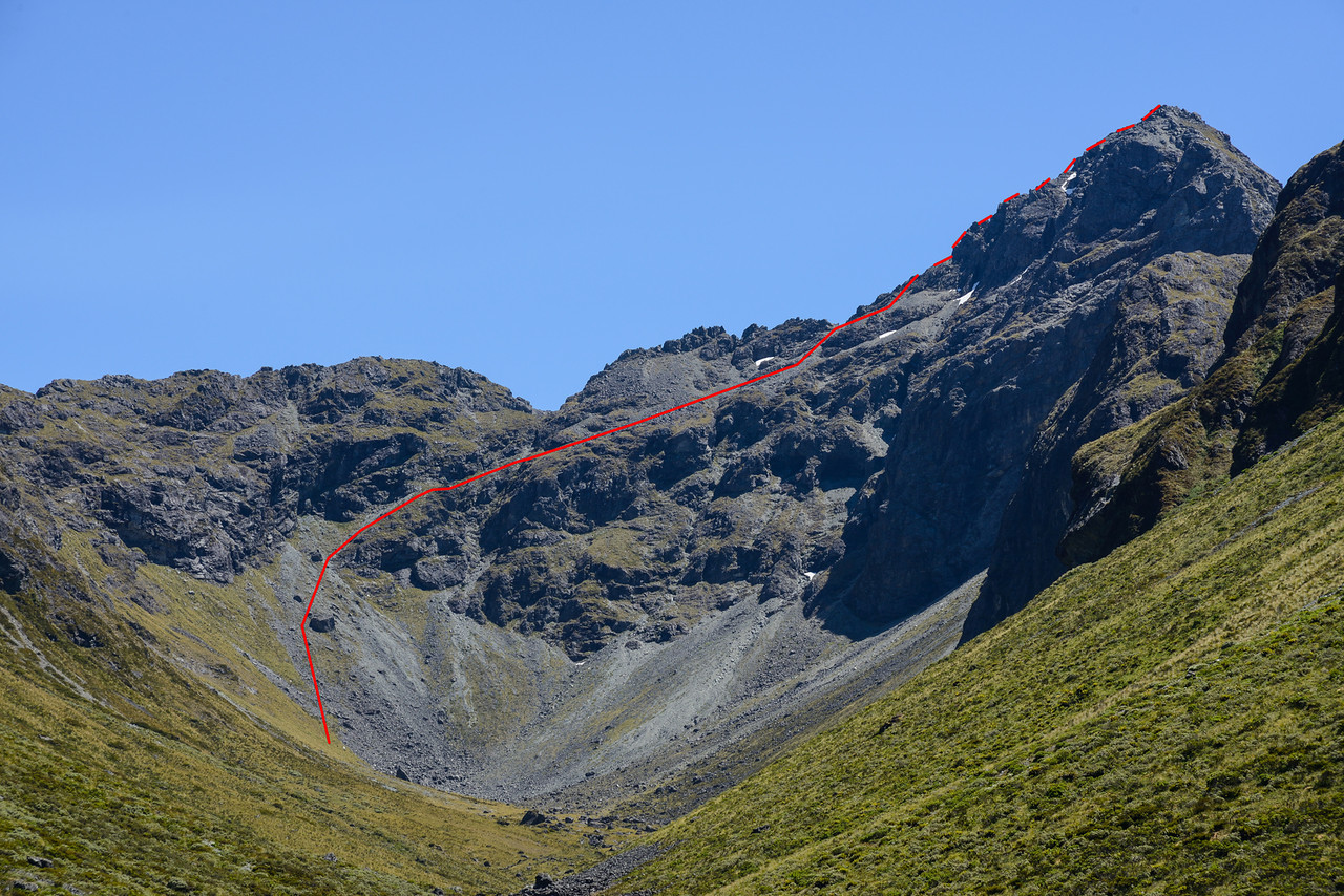 Triton Peak route topo, from Waterfall Creek. We used the rope to get past one gendarme 50m below the summit