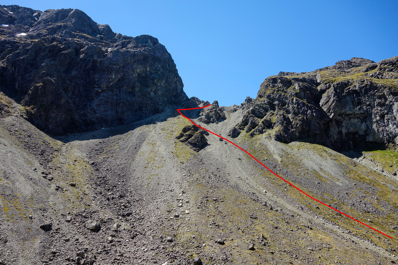 The pass leading from Waterfall Creek into Hut Creek. The red line marks the best route over the pass - a lot better than the scree slope further to the right! Notice this is very foreshortened - the upper section is a lot longer than it looks on photograph