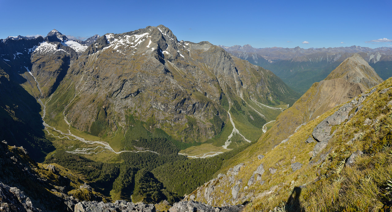 Hut Creek panorama from the summit of Triton Peak. Flat Top Peak top left; Triangle Peak at centre image
