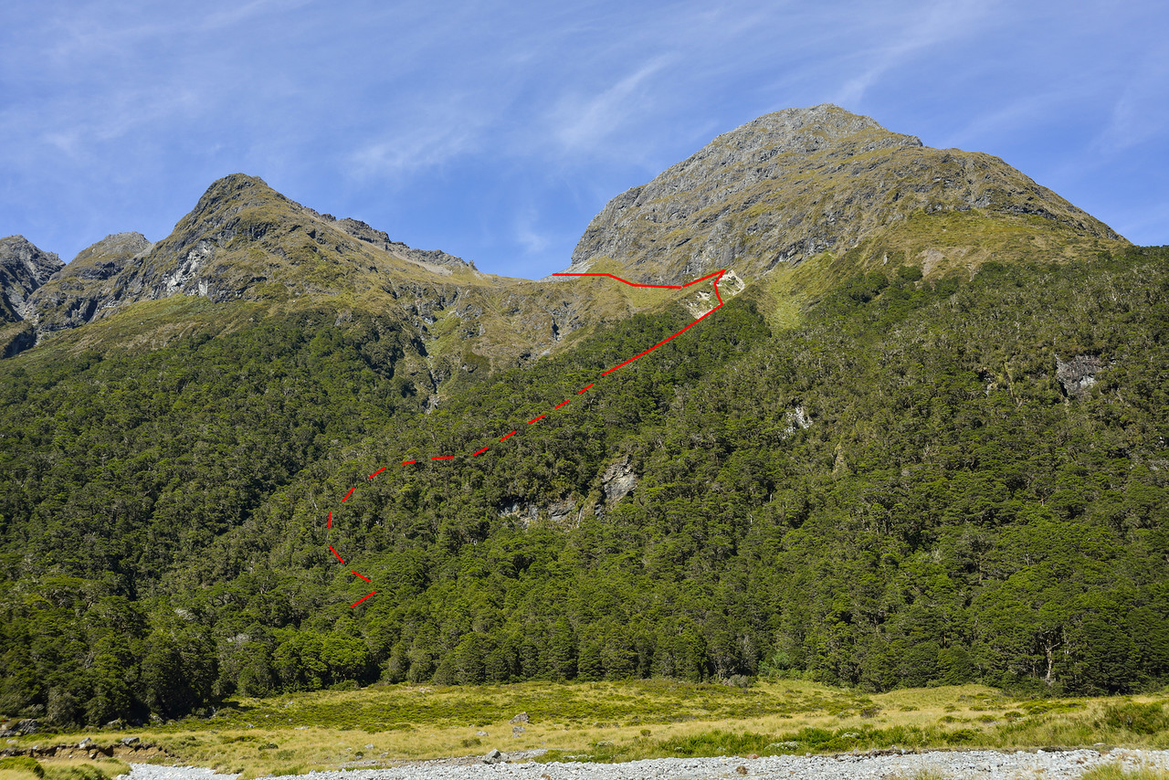 Descent route into Hut Creek from the pass with Waterfall Creek. Triton Peak top right