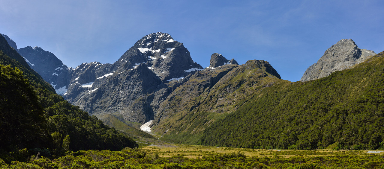 Pyramid Peak, Ngatimamoe Peak and Consolation Peak at the head of Mistake Creek