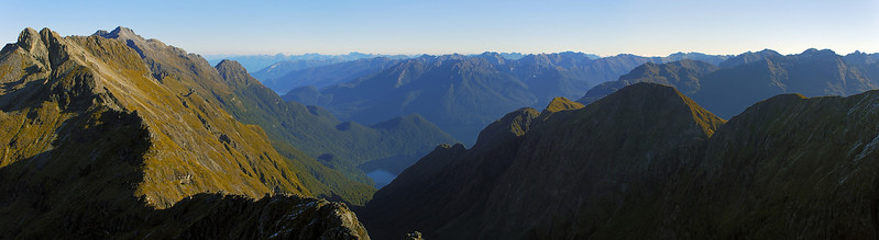 Looking south into the Glade Burn and Lake Te Anau from the south ridge of Triton Peak. Skelmorlie Peak is near the left edge of the image