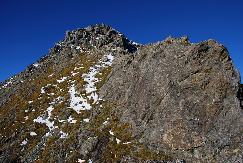 The summit of Triton Peak. So close yet so far, just across a notch in the south ridge.
