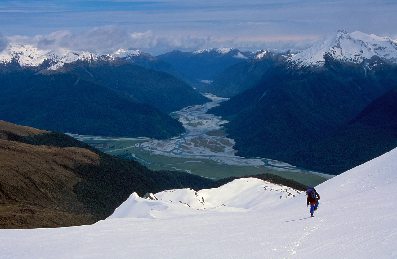 Descending Ensign Spur. The Haast River in the background.