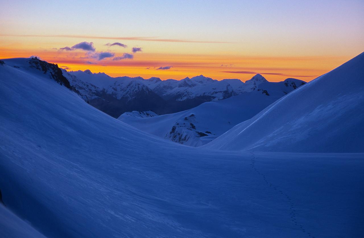 Sunset below Mt Earle