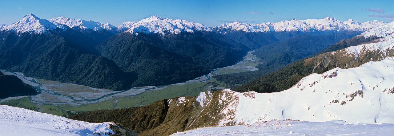 Landsborough and Haast Rivers from Mt Ramsay