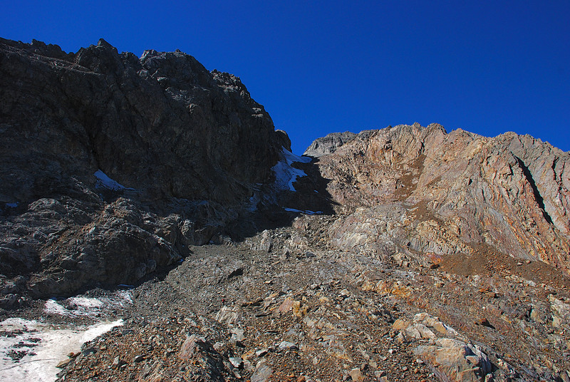 The summit of Belfry Peak (left)