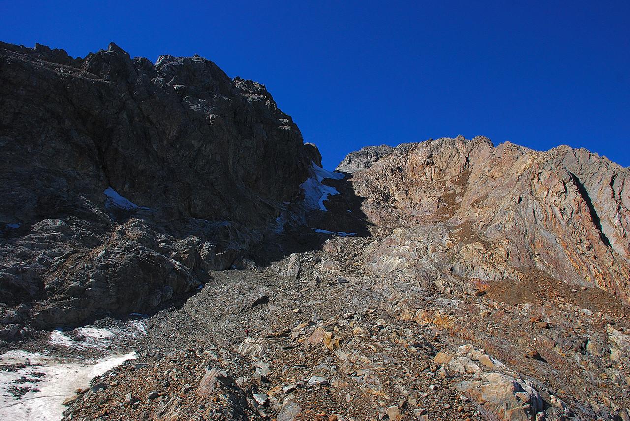 The summit of Belfry Peak (left)