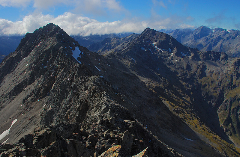 Temple Peak (left) and Rabbiters Peak (centre-right) from the summit of Belfry Peak. The Naumann Range back right