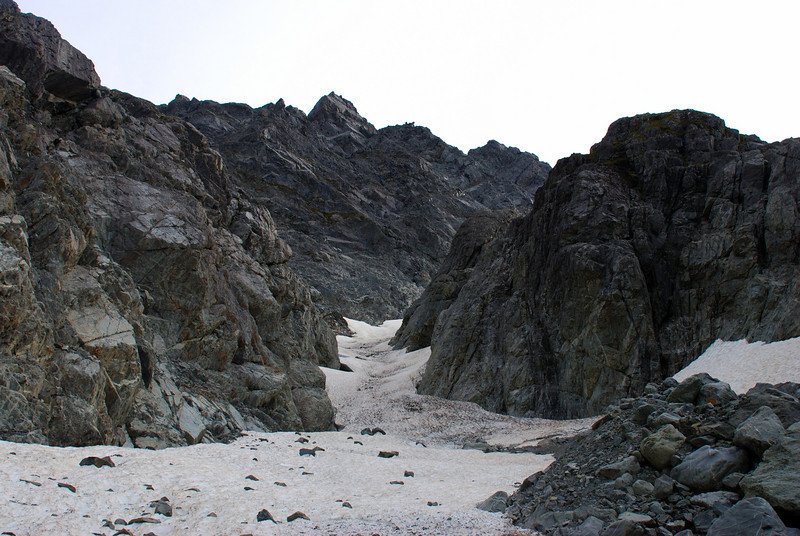 The lower section of Jamieson Stream's snow couloir