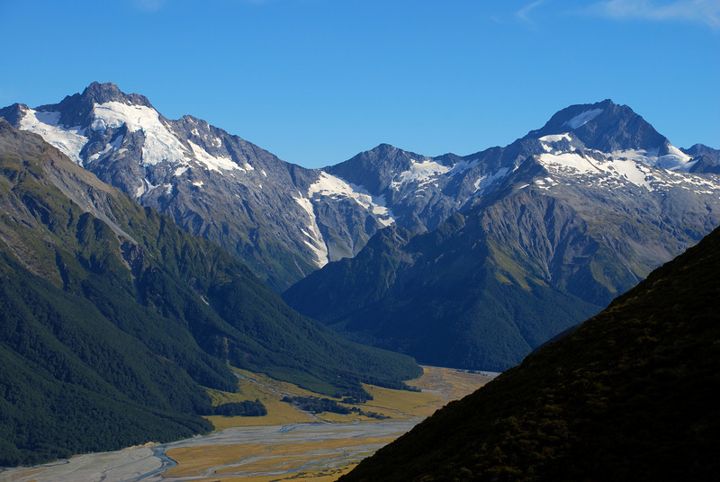 Mt Jackson, Elcho Pass and Mt Ward from bushline above Red Hut.