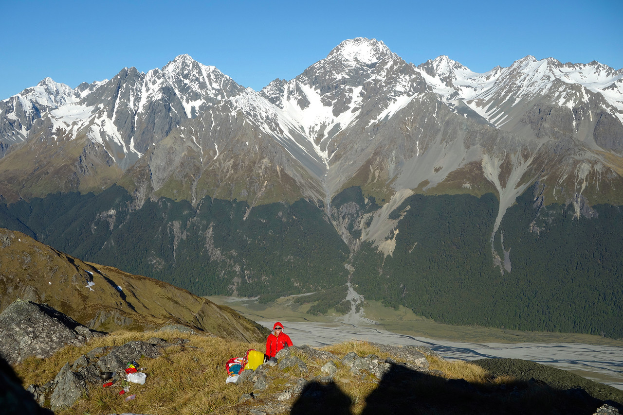 Bivvy site on the SE ridge of Boanerges. The Naumann Range and Hopkins River behind