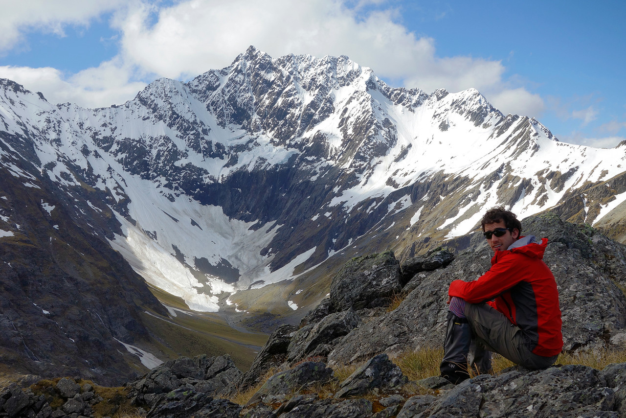 At our bivvy site on the SE ridge of Boanerges. Paradise Creek and Taiaha Peak behind