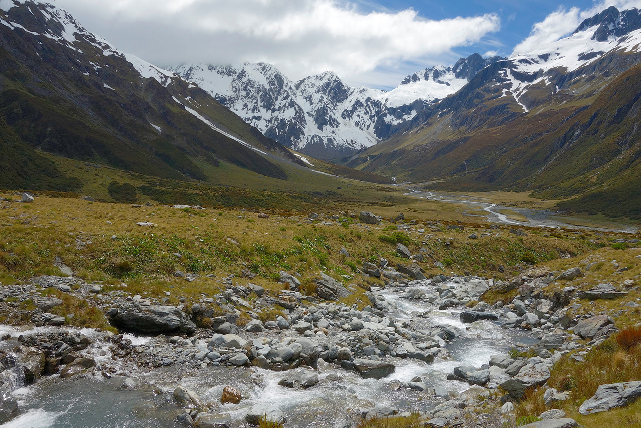 View up the Huxley River North Branch. Unnamed Peak pt 2030m at centre image, McNulty Peak right of centre.