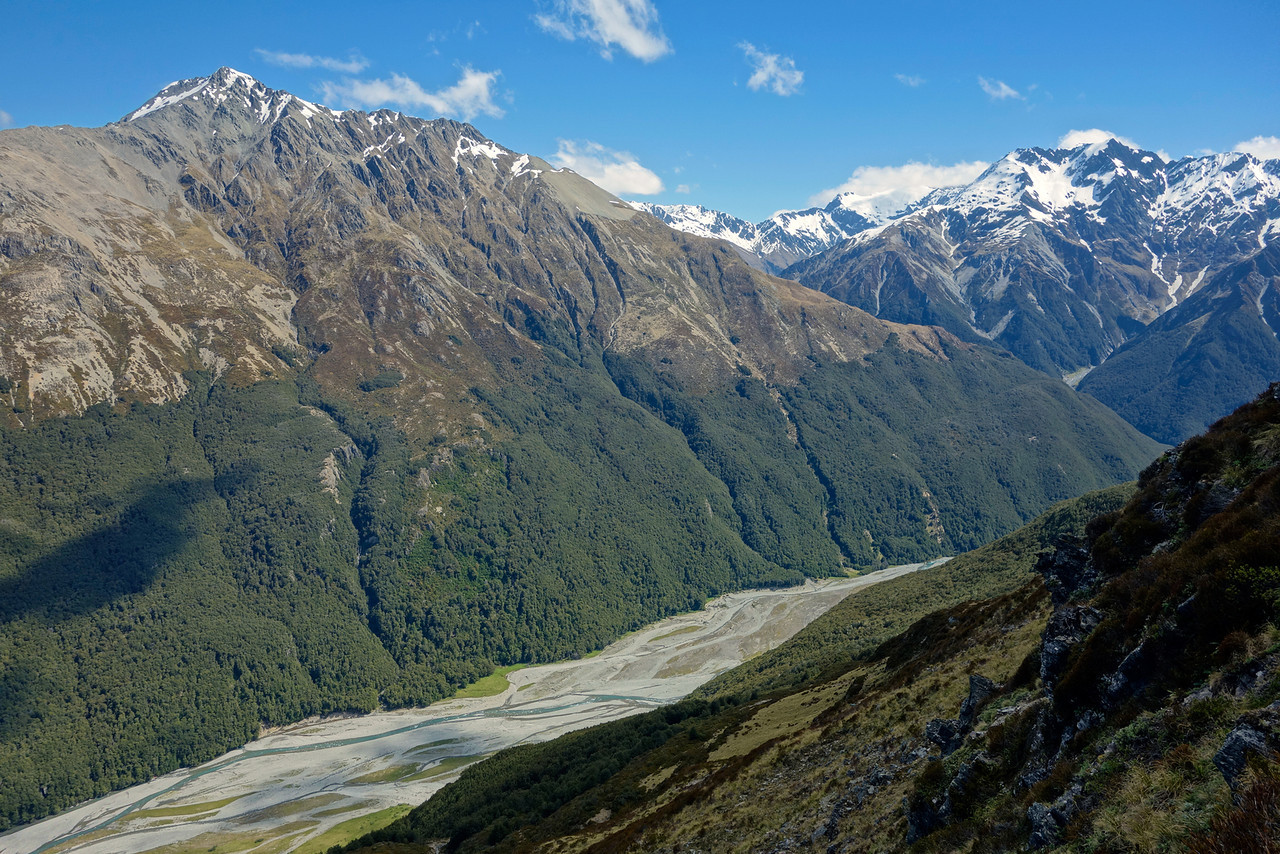 The Huxley River from above bushline on the SE ridge of Boanerges. Unnamed peak pt 2116m on left