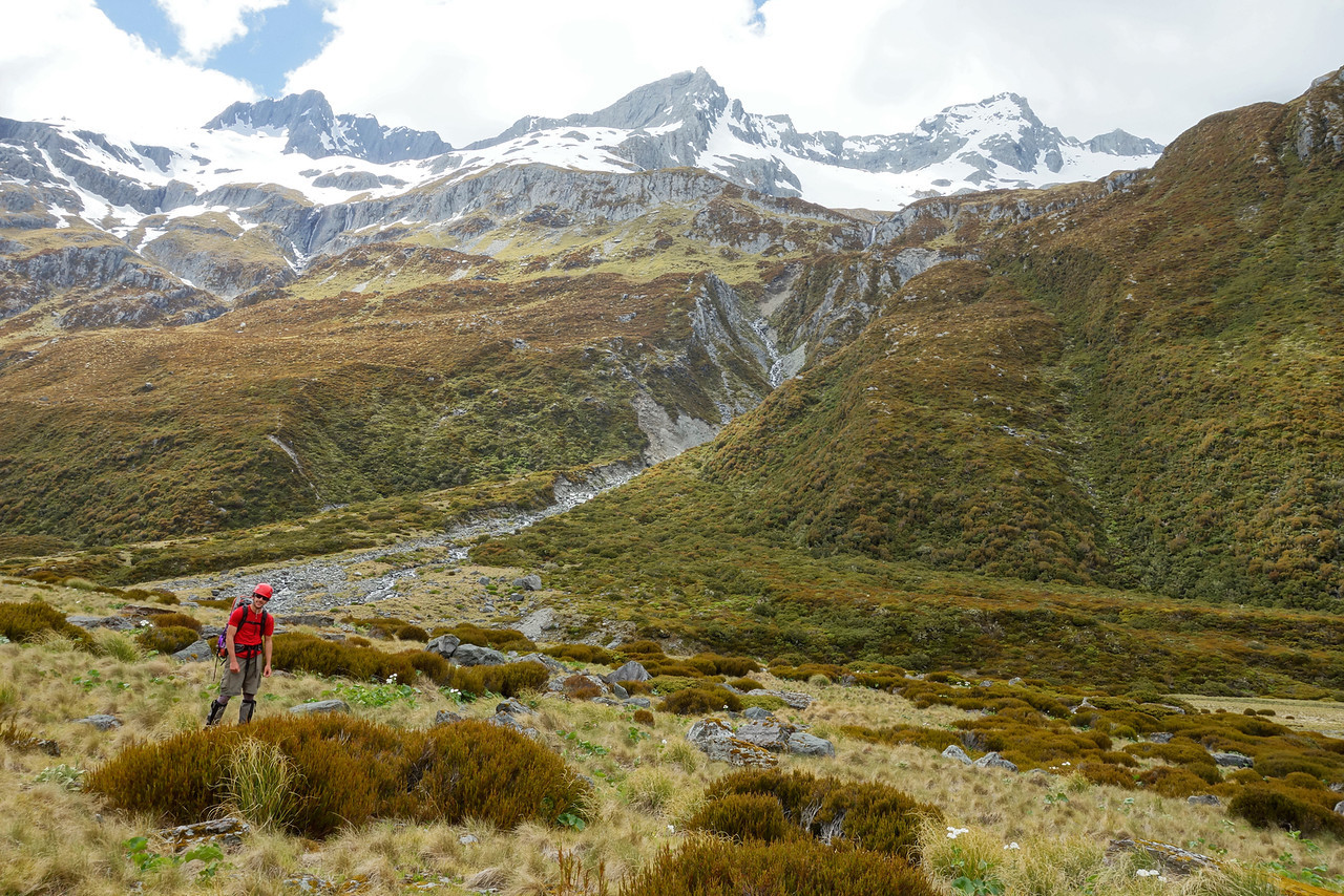 In the Huxley River North Branch, looking up to our descent route off Boanerges (on the true right of the eroding gulch)