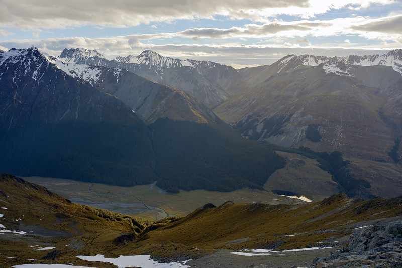 View into the Ahuriri Valley and Watson Stream from Canyon Creek / Ahuriri Saddle. Mt Maitland and Elusive Peak on left.