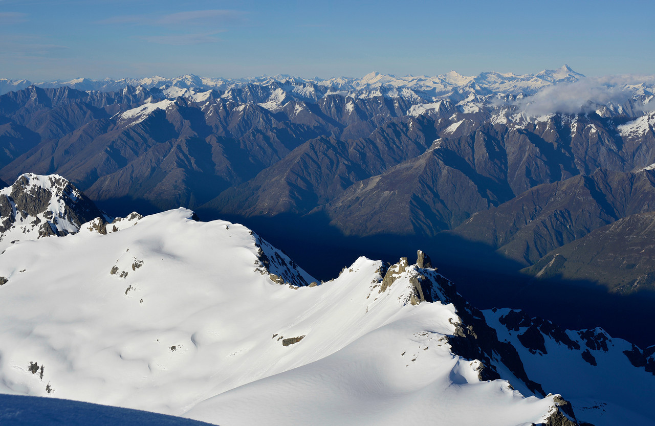 View to the south west from the summit of Mt Barth. Tititea/Mt Aspiring on the far right
