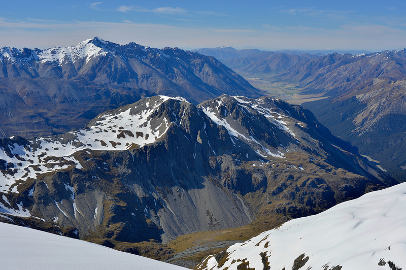 Mount St Mary and the lower Ahuriri Valley from the Thurneysen Glacier