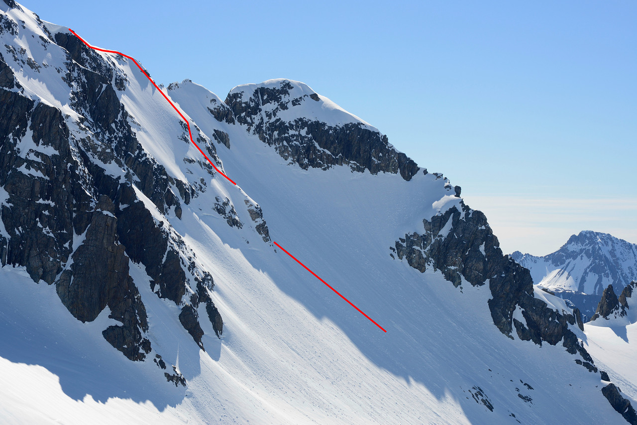 Route to the east ridge of Mt Barth