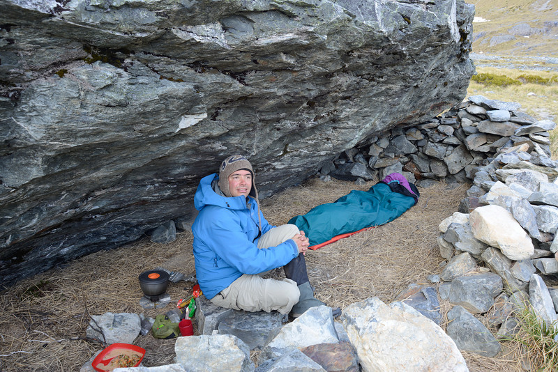 In the rock bivvy at the head of Canyon Creek