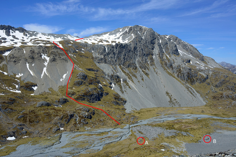 The river flats at the head of Canyon Creek, with the route leading into the Ahuriri Valley. A and B are the bivvy rocks. A is currently in good condition. B has a better overhang, but was damaged by a boulder that rolled into the living area - some work with a sledge hammer and a crow bar is required to make it inhabitable again.