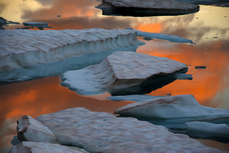 Icebergs floating on the lake in Canyon Creek