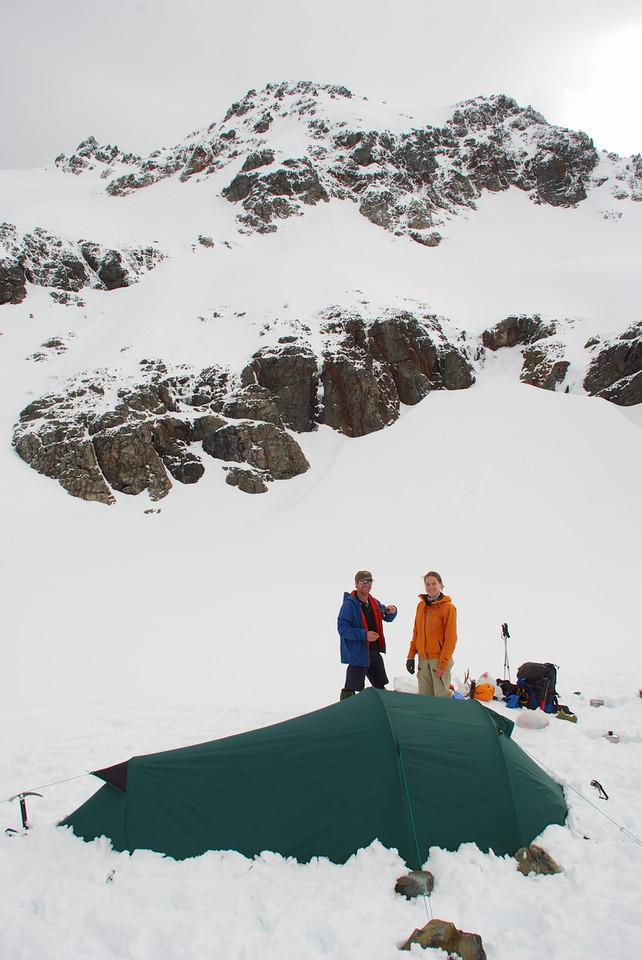 Campsite at the head of the Dingle Burn. Celtic Peak above.