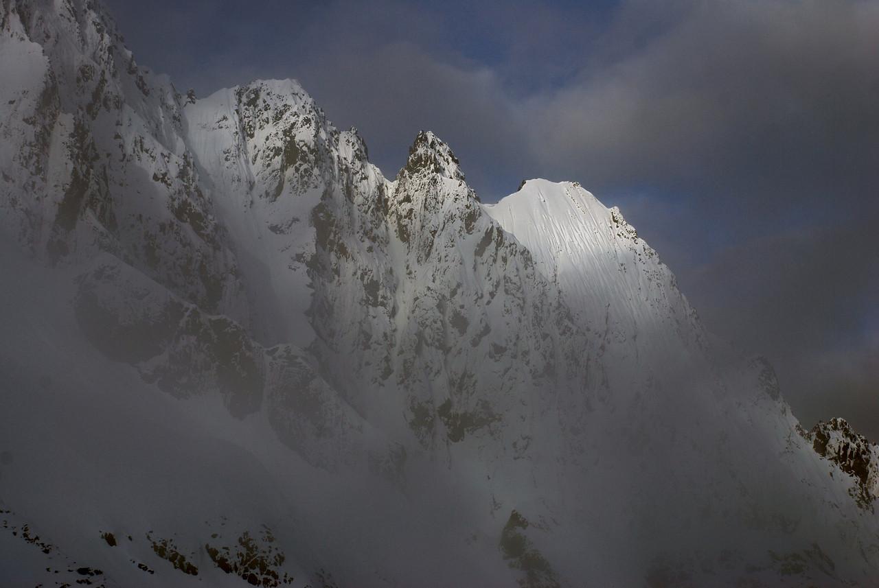 Highlander Peak east ridge enshrouded in cloud