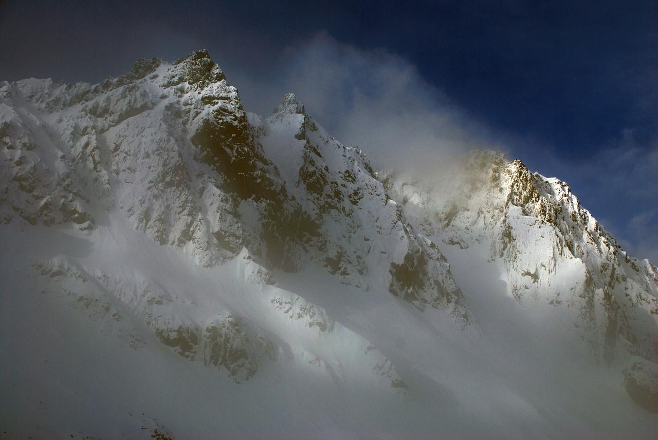 Highlander Peak enshrouded in cloud
