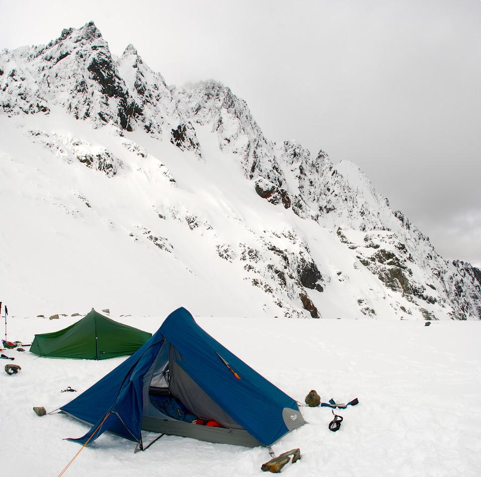 Campsite at the head of the Dingle Burn. Highlander Peak above.