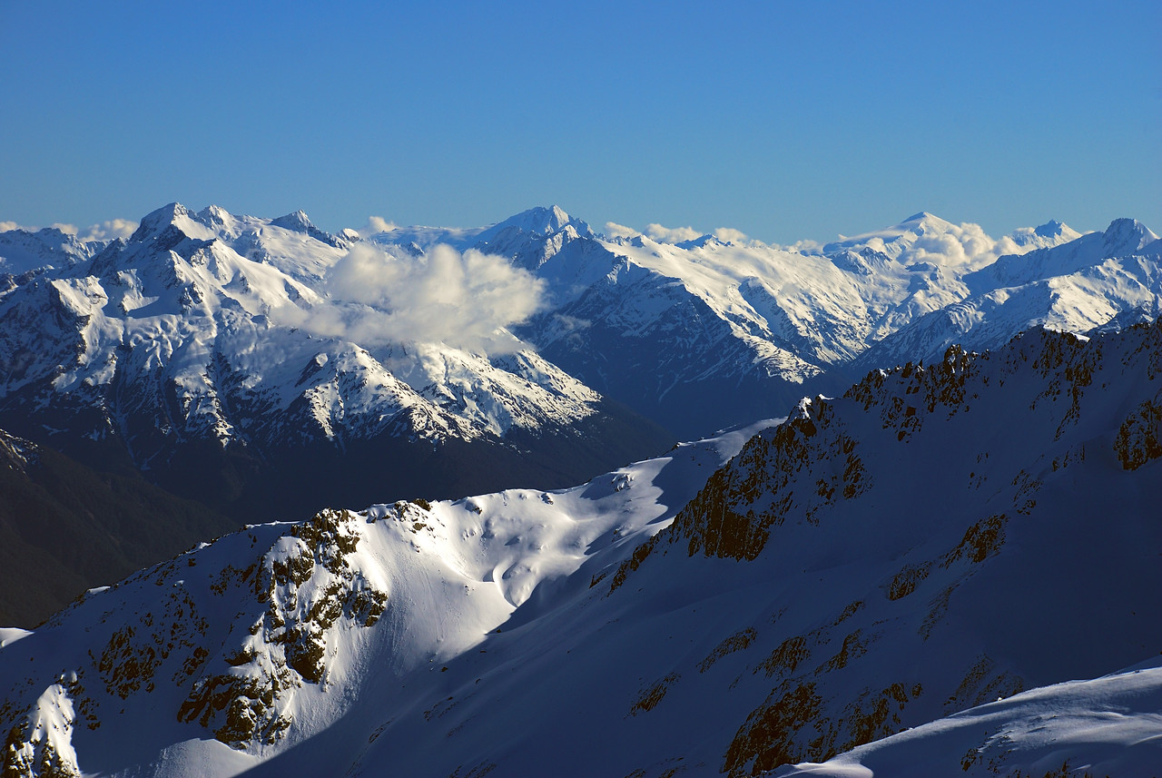 Panorama from the summit of Celtic Peak. From left to right are Mount Enderby, Mount Hooker, Mount Dechen, Mount Strauchon
