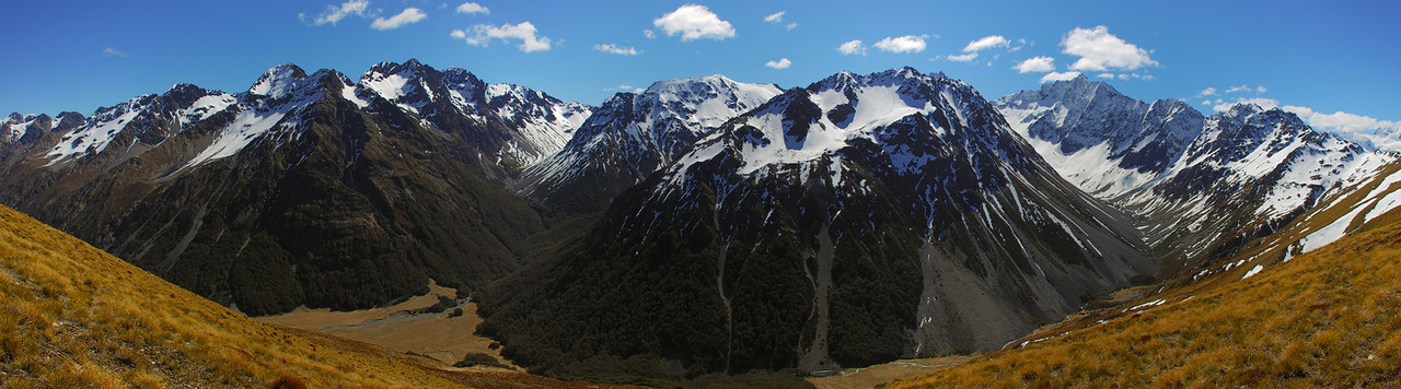 Dingle Burn panorama: the Huxley Range from the east. Leaning Mount is to the left of centre image, while Highlander Peak is on the right