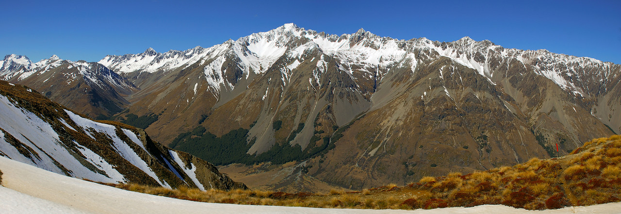 Mount Saint Mary from the saddle separating the Dingle Burn from the Ahuriri River. Hodgkinson Creek to the left, with Mount Peterson and Mount Stafford at the valley head