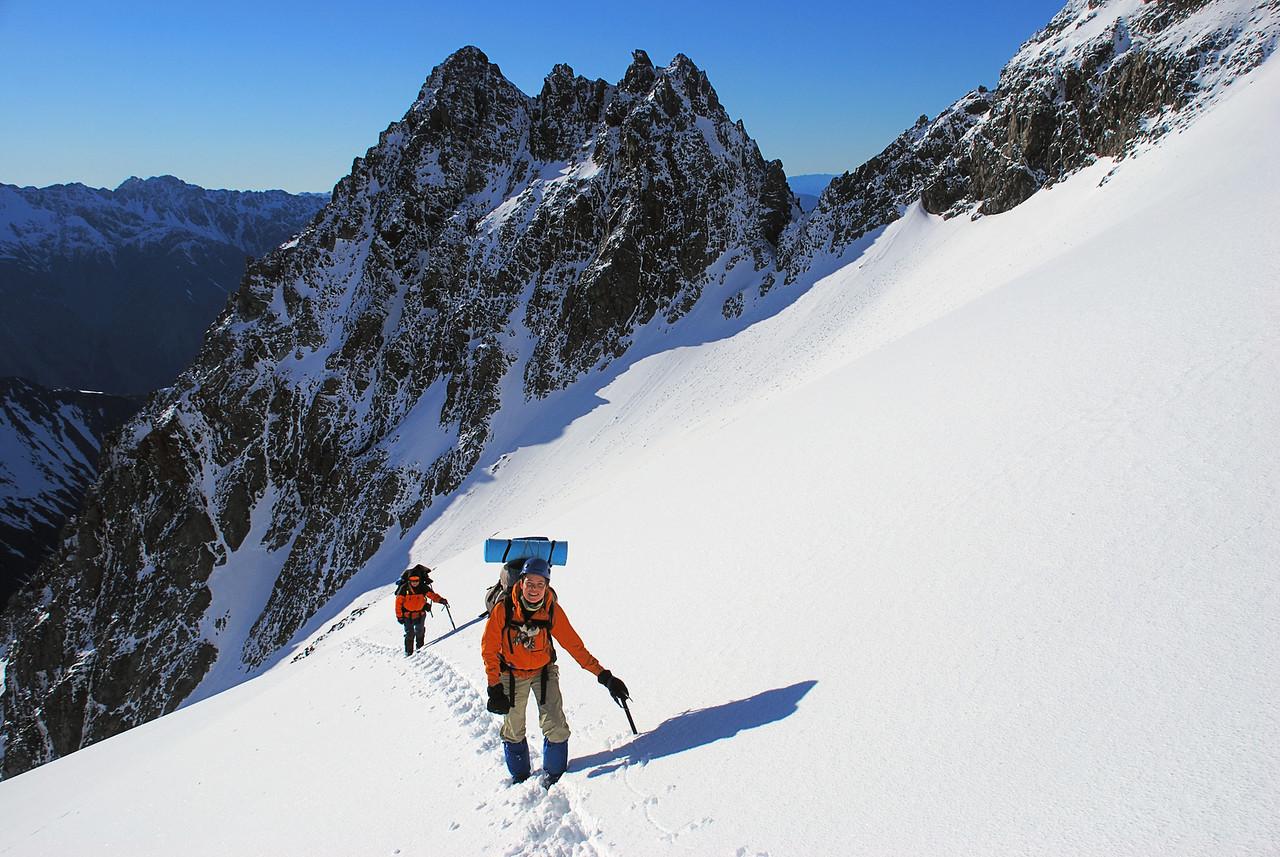 Ascending the eastern slopes of Celtic Peak