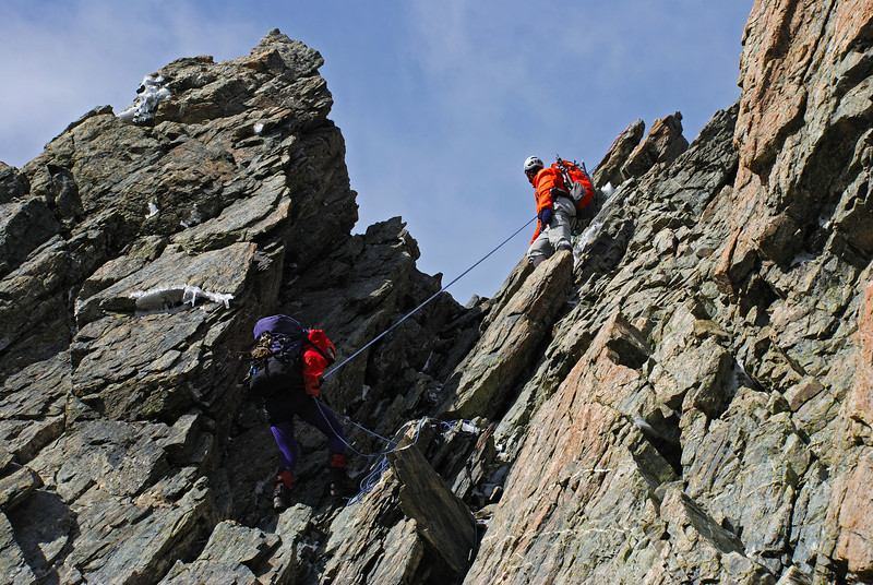 Emma and Aaron descending the north ridge of Mt Glencairn