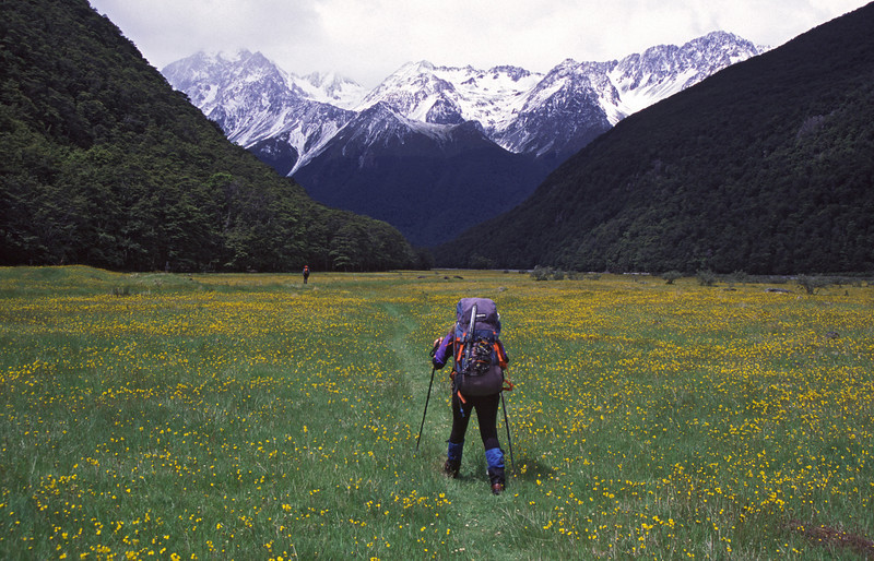 Walking down the Huxley river flats. The Naumann Range in the background