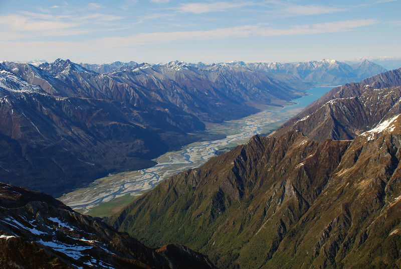View into the Hunter River and Lake Hawea from Tent Peak