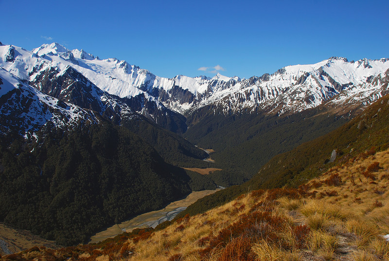 View into the head of the Makarora River. Mt Brewster on the far left; Mt Tole at centre image