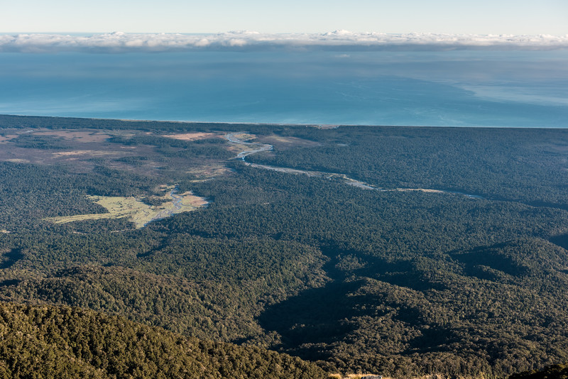 View of the Waita River mouth and Coppermine Creek from Mount Smith, Mataketake Range.