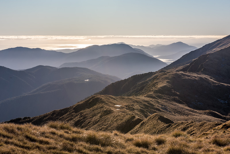 View north from Mount Smith, looking towards Law Hill, Mount Docherty and the Moeraki River.