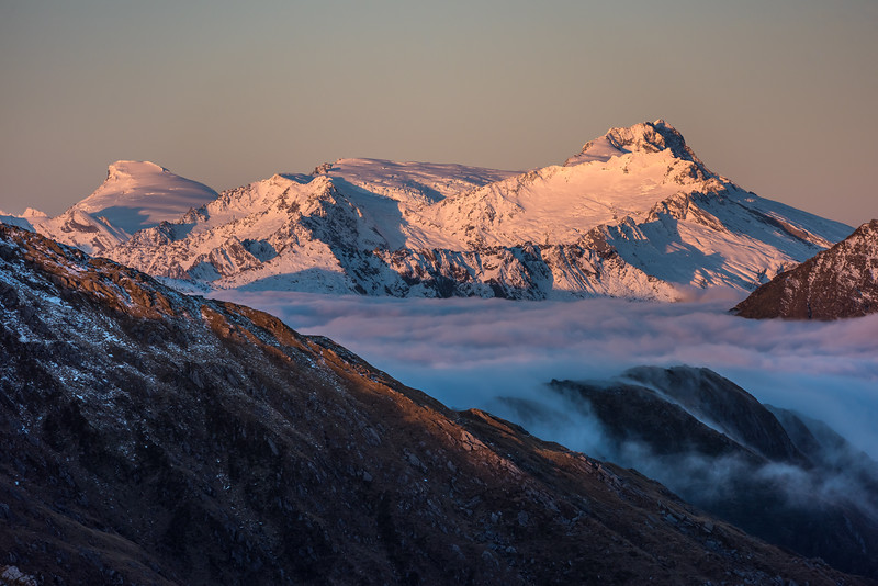View of Mount Dechen and Mount Hooker at sunset from Pt 1258m, Mataketake Range.