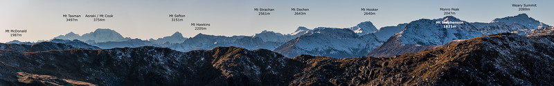 Southern Alps panorama from Mount Smith, Mataketake Range.