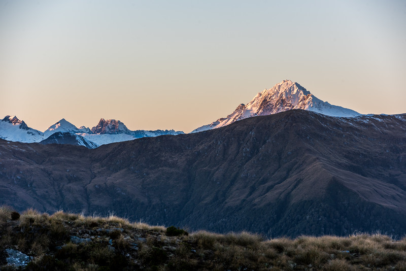 View of Mount Brewster from the slopes of Mount Smith, Mataketake Range. Mount Barth is the square rocky peak left of centre image.