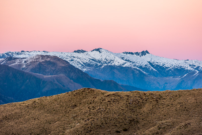 Mount Nerger, Marks Range, at dawn. Dizzy Pinnacle is on the far left.