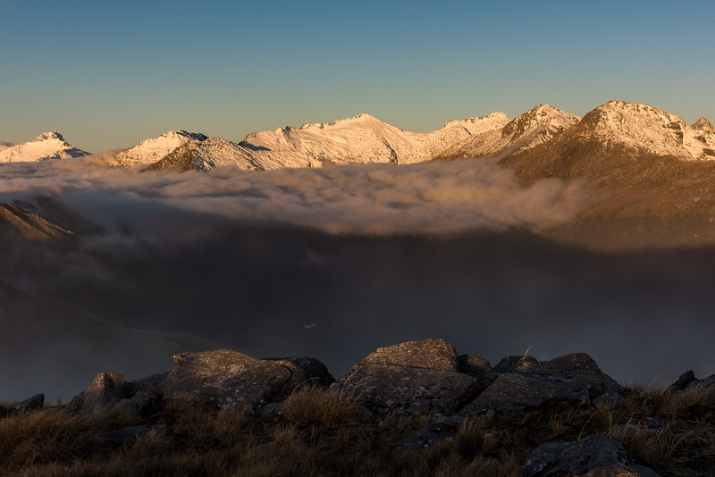 Sunset view from Pt 1258m, Mataketake Range. From left to right are Mount Hooker, Eureka, Monro Peak (centre), Weary Summit, Mount Stephenson. Shattered Peak is just visible at the right edge of the image.