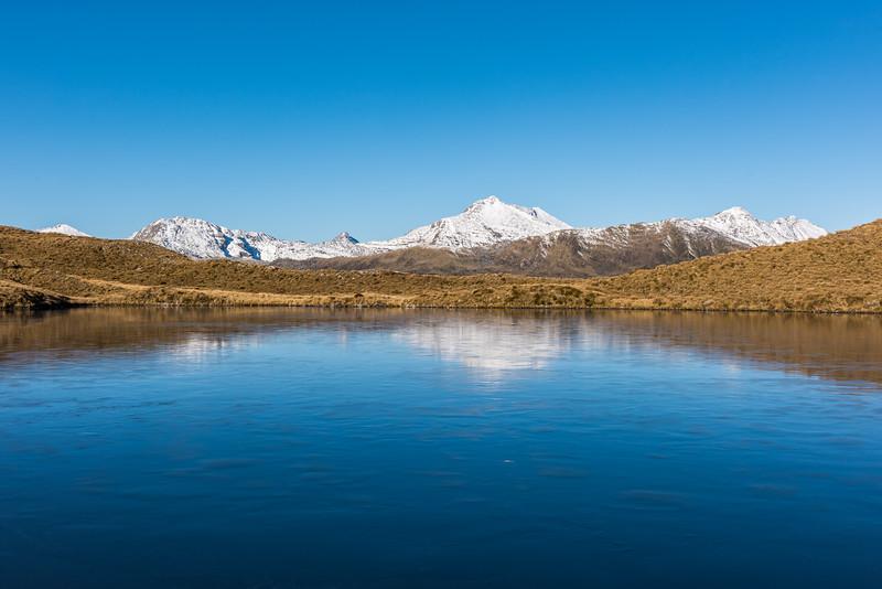 Lake Dime, Mataketake Range. Law Peak is at centre image.